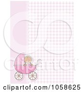 Royalty Free Vector Clip Art Illustration Of A Pink Gingham And Lace Background With A Baby Girl And Pram