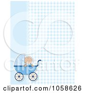 Royalty Free Vector Clip Art Illustration Of A Blue Gingham And Lace Background With A Baby Boy And Pram
