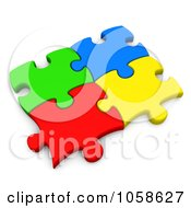 Royalty Free CGI Clip Art Illustration Of Four Colorful 3d Puzzle Pieces Connected