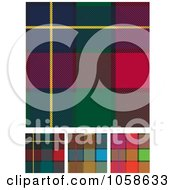 Digital Collage Of Scottish Plaid Textile Pattern Backgrounds