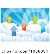 Royalty Free Vector Clip Art Illustration Of Profit Arrows In Puffy Clouds Under Rays by Qiun