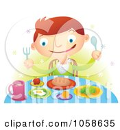 Royalty Free Vector Clip Art Illustration Of A Hungry Boy With A Feast At A Table