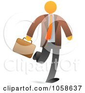 Royalty Free Vector Clip Art Illustration Of An Orange Faceless Businessman Walking