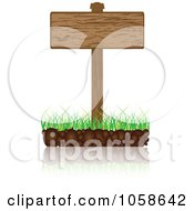 Royalty Free Vector Clip Art Illustration Of A 3d Wooden Sign On Grass