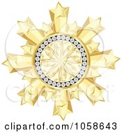 Royalty Free Vector Clip Art Illustration Of A 3d Golden Diamond Star Burst Frame by Andrei Marincas #COLLC1058643-0167