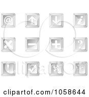 Royalty Free Vector Clip Art Illustration Of A Digital Collage Of Silver 3d Keyboard Web Icons