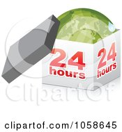 Royalty Free Vector Clip Art Illustration Of A 3d 24 Hour Box With A Green Globe