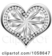 Royalty Free Vector Clip Art Illustration Of A 3d Silver Diamond Heart