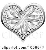 Royalty Free Vector Clip Art Illustration Of A 3d Silver Diamond Heart by Andrei Marincas