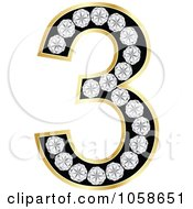 Royalty Free Vector Clip Art Illustration Of A 3d Gold Diamond Number Three by Andrei Marincas