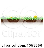 Royalty Free Vector Clip Art Illustration Of A Border Of Flowers Grass And Soil With A Reflection by Andrei Marincas