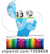 Royalty Free Vector Clip Art Illustration Of An Open Blue Globe Mind With 3d Cubes Over Rainbow Stripes by Andrei Marincas