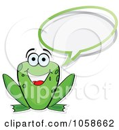 Royalty Free Vector Clip Art Illustration Of A Happy Frog Talking by Andrei Marincas