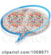 Royalty Free Vector Clip Art Illustration Of A Chat Bubble Of National Flags