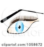 Royalty Free Vector Clip Art Illustration Of A Blue Eye With Brown Lashes And Arched Brows