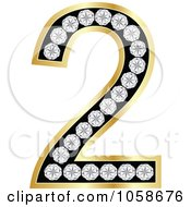 Royalty Free Vector Clip Art Illustration Of A 3d Gold Diamond Number Two by Andrei Marincas