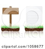 Digital Collage Of 3d Document And Wood Signs On Grass