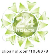 Royalty Free Vector Clip Art Illustration Of Green Arrows Around A Green 24 Hours Globe by Andrei Marincas