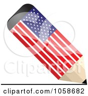 Royalty Free Vector Clip Art Illustration Of A 3d American Flag Pencil Drawing A Line