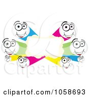Royalty Free Vector Clip Art Illustration Of A Colorful Frame Of Happy Tube Faces by Andrei Marincas