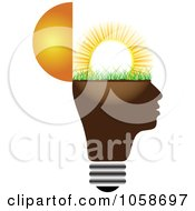 Royalty Free Vector Clip Art Illustration Of A Head Light Bulb With Sunshine by Andrei Marincas