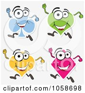 Royalty Free Vector Clip Art Illustration Of A Digital Collage Of Playing Card Suit Characters Running