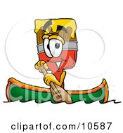 Clipart Picture Of A Paint Brush Mascot Cartoon Character Rowing A Boat