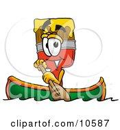 Paint Brush Mascot Cartoon Character Rowing A Boat
