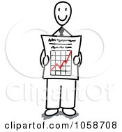 Royalty Free Vector Clip Art Illustration Of A Stick Businessman Holding A Growth Graph by Frog974