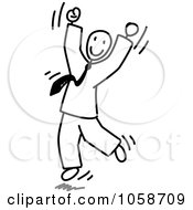 Royalty Free Vector Clip Art Illustration Of A Stick Businessman Jumping by Frog974