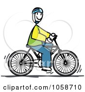 Royalty Free Vector Clip Art Illustration Of A Stick Man Riding A Bicycle