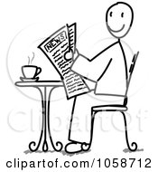 Royalty Free Vector Clip Art Illustration Of A Stick Man Reading The News At A Cafe by Frog974 #COLLC1058712-0066