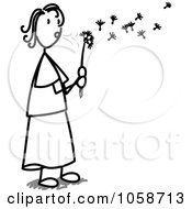 Royalty Free Vector Clip Art Illustration Of A Stick Woman Blowing A Dandelion