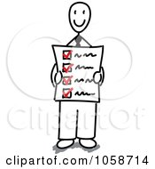 Royalty Free Vector Clip Art Illustration Of A Happy Stick Businessman Holding A Check List by Frog974