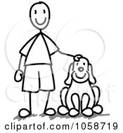 Royalty Free Vector Clip Art Illustration Of A Stick Boy With A Dog by Frog974 #COLLC1058719-0066