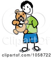 Stick Boy Huggging A Teddy Bear