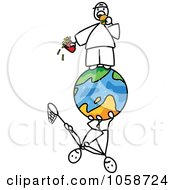 Royalty-Free Vector Clip Art Illustration of a Stick Man Eating Junk Food On Top Of The World by Frog974