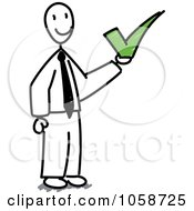 Royalty-Free Vector Clip Art Illustration of a Stick Businessman Holding A Check Mark by Frog974 #COLLC1058725-0066