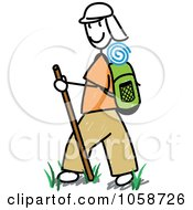 Royalty Free Vector Clip Art Illustration Of A Stick Man Hiking by Frog974 #COLLC1058726-0066