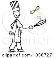 Royalty-Free Vector Clip Art Illustration of a Stick Chef Flipping Pancakes by Frog974 #COLLC1058727-0066