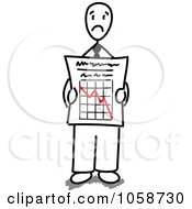 Royalty Free Vector Clip Art Illustration Of A Stick Businessman Holding A Decline Graph by Frog974