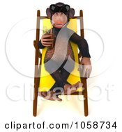 Royalty Free CGI Clip Art Illustration Of A 3d Chumpy Chimp Sipping A Beverage Poolside 1