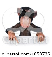 Royalty Free CGI Clip Art Illustration Of A 3d Chumpy Chimp Wearing Shades And Holding A Sign