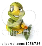 Royalty Free CGI Clip Art Illustration Of A 3d Chuck Tortoise Sitting With An Inner Tube