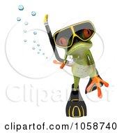Royalty Free CGI Clip Art Illustration Of A 3d Springer Frog Snorkeling 3