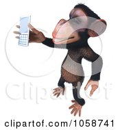 Royalty Free CGI Clip Art Illustration Of A 3d Chumpy Chimp Holding A Cell Phone 2