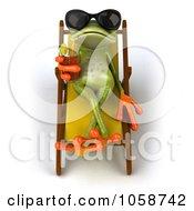 Royalty Free CGI Clip Art Illustration Of A 3d Springer Frog Sipping A Beverage Poolside 1