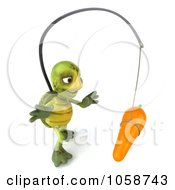 Royalty Free CGI Clip Art Illustration Of A 3d Green Tortoise Chasing A Carrot On A Stick 3