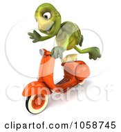 Royalty Free CGI Clip Art Illustration Of A 3d Green Tortoise Speeding On A Scooter