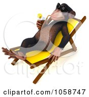 Royalty Free CGI Clip Art Illustration Of A 3d Chumpy Chimp Sipping A Beverage Poolside 2